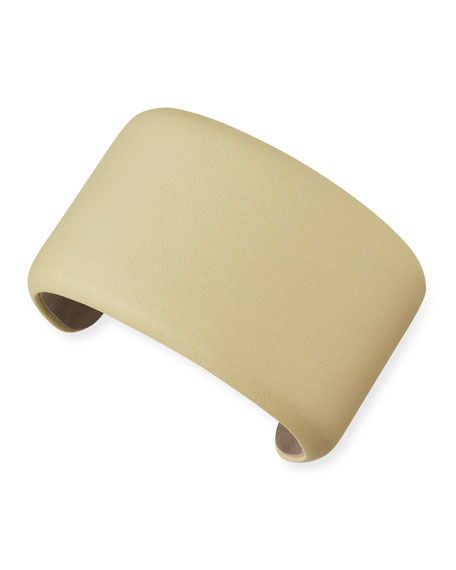 Leather Cuff Bracelet, Custard