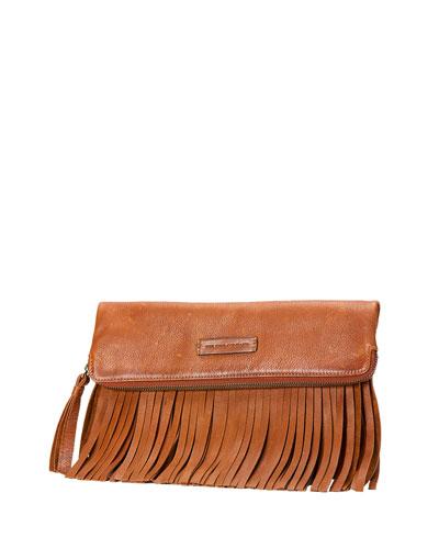 Heidi Fringe Leather Crossbody Bag, Whiskey