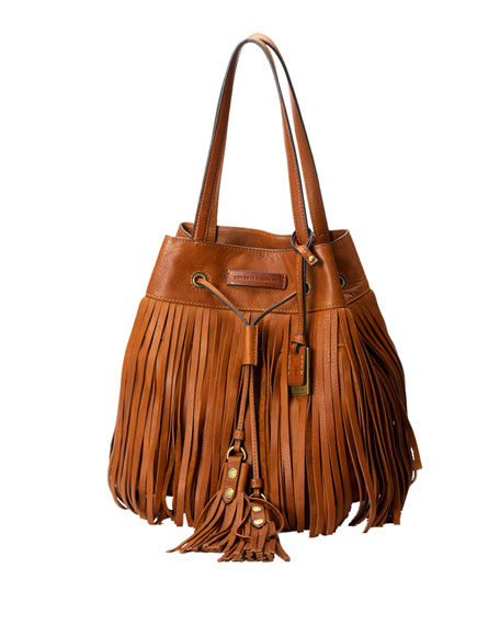 Heidi Fringe Drawstring Shoulder Bag, Whiskey
