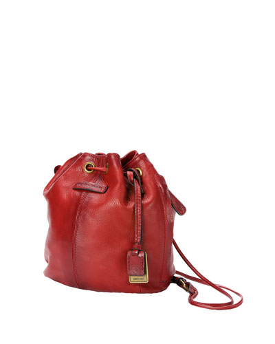 Jenny Mini Leather Drawstring Bag, Burnt Red