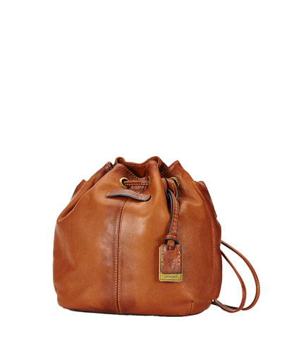 Jenny Mini Leather Drawstring Bag, Whiskey