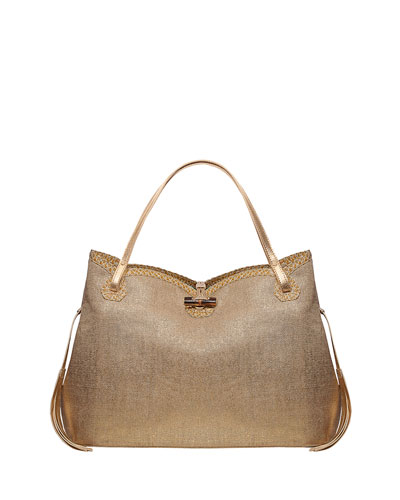 Tuti Linen-Look Tote Bag, Gold