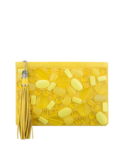 Celia Large Beaded Clutch Bag, Lemon Drops