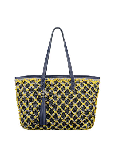 Sam Straw Tote Bag, Navy/Yellow