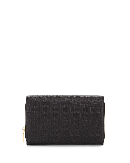 Tory Burch Embossed-T Wallet Crossbody Bag, Black