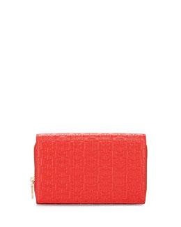 Embossed-T Wallet Crossbody Bag, Massai Red