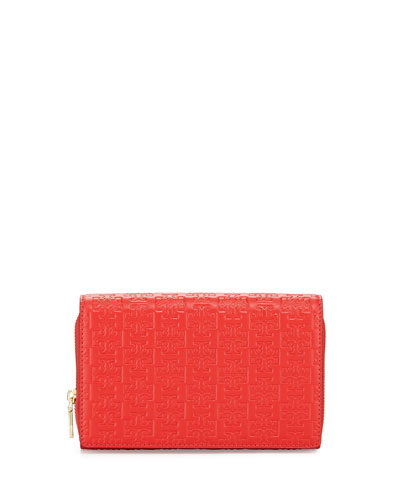 Tory Burch Embossed-T Wallet Crossbody Bag, Massai Red