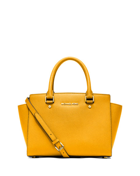 c2f5ca182c97 ... get michael michael kors selma medium top zip satchel bag sun 2986f  794be