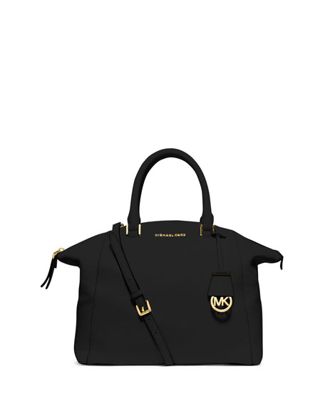 MICHAEL Michael Kors Riley Large Pebbled Satchel Bag, Black
