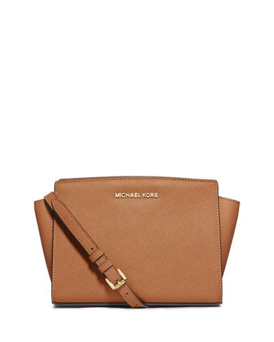 Selma Medium Saffiano Messenger Bag, Peanut