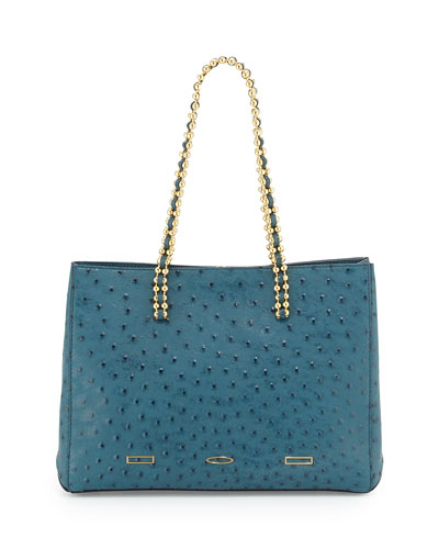 Pandora Ostrich Leather Tote Bag, Baltic Teal Blue