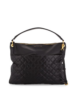 Tread Lightly Quilted Hobo Bag, Black