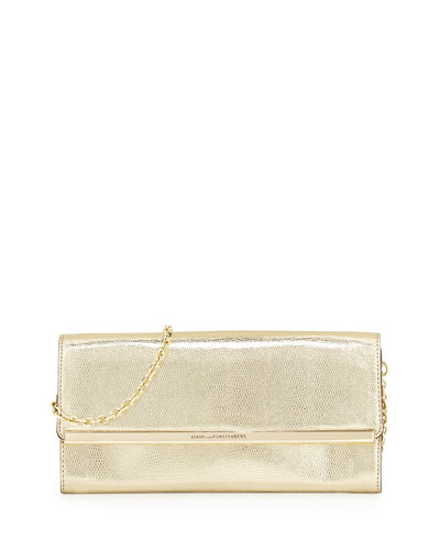 Voyage After 6 Metallic Clutch Bag, Light Gold