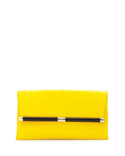 440 Croc-Embossed Leather Envelope Clutch Bag, Dandelion