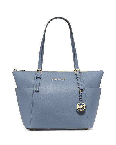 Jet Set Top-Zip Saffiano Tote Bag, Pale Blue