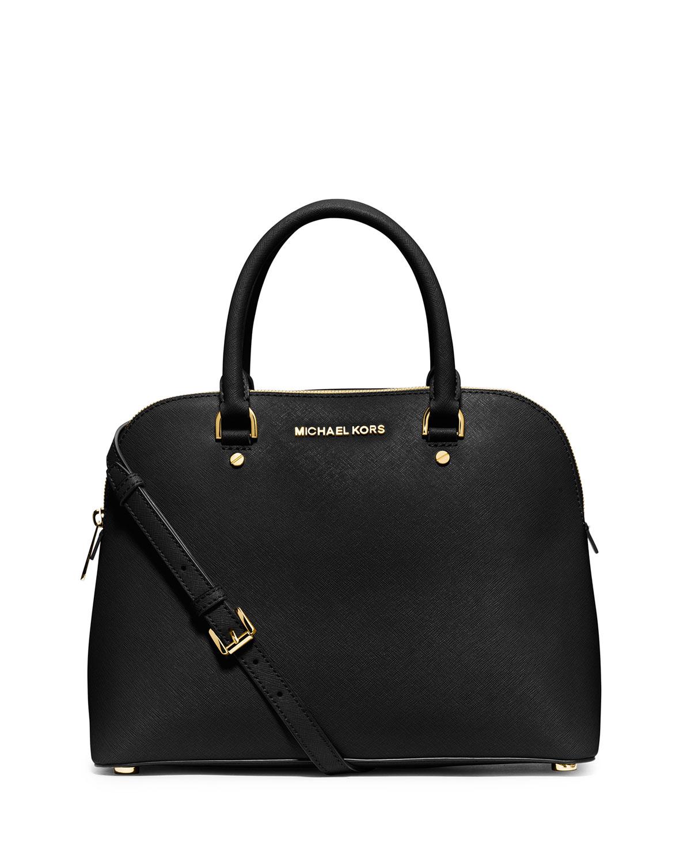 ba02fa64dace78 MICHAEL Michael Kors Cindy Large Dome Satchel Bag, Black | Neiman Marcus