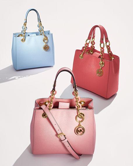 Cynthia Small Satchel Bag, Pale Pink