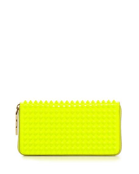Panettone Patent Spiked Zip Wallet, Neon Yellow