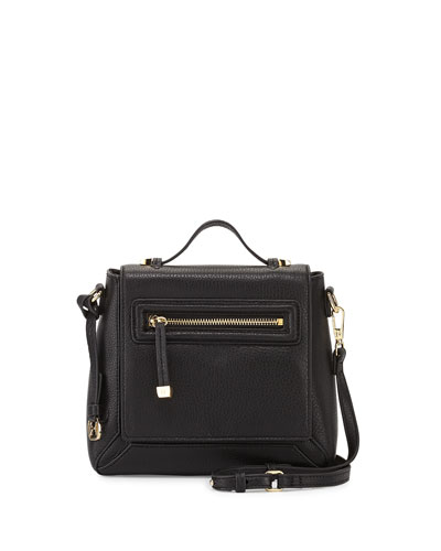 Leather Flap Crossbody Bag, Black
