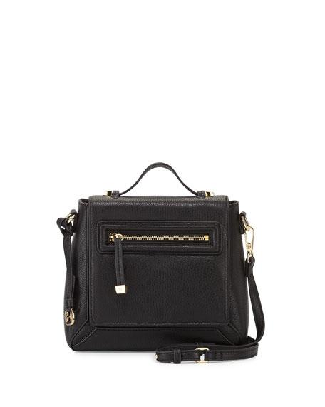 Leather Flap Crossbody Bag, Black