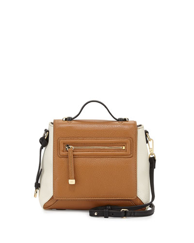 Leather Flap Crossbody Bag, Tan Multi