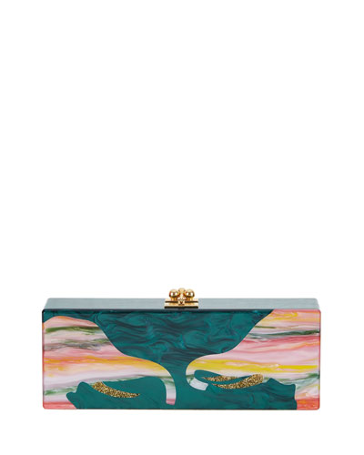 Flavia Acrylic Elephant Clutch Bag, Green