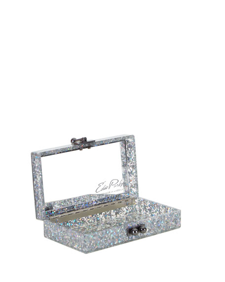 Jean Acrylic Chevron Clutch Bag, Silver