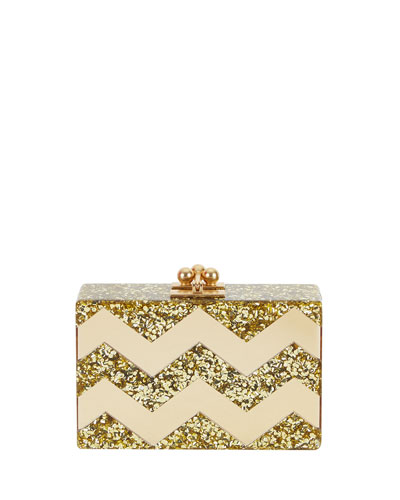 Minnie Acrylic Chevron Clutch Bag, Gold