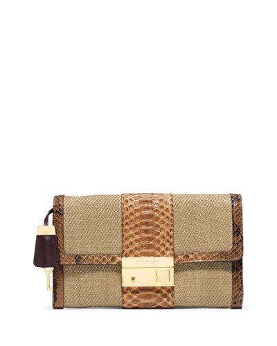 Gia Clutch Bag w/Lock & Python Trim, Luggage