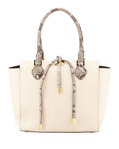 Miranda Medium Python-Trim Tote Bag, Vanilla
