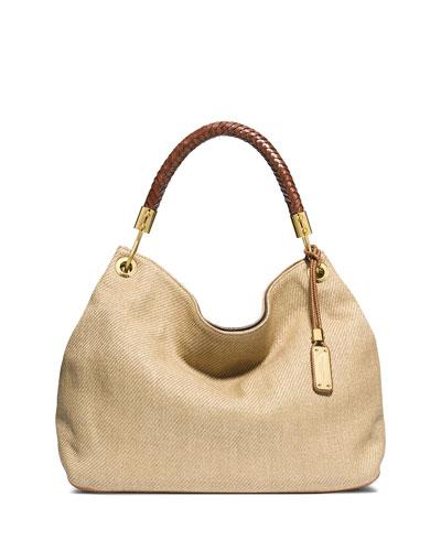 Skorpios Large Woven Leather Shoulder Bag, Luggage