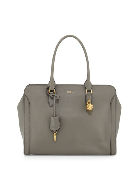 Alexander McQueen Medium Padlock Satchel Bag, Dark Gray