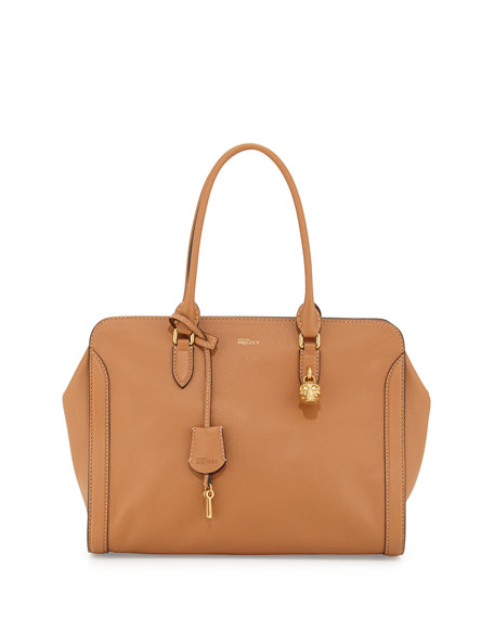 Medium Padlock Satchel Bag, Camel