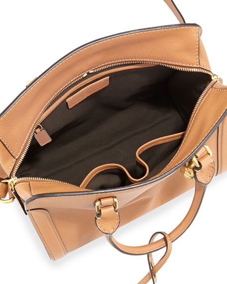 Small Padlock Satchel Bag, Camel