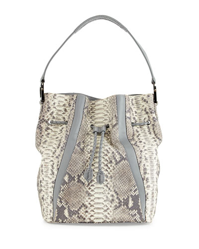 Python Bucket Bag, Natural/Smoke