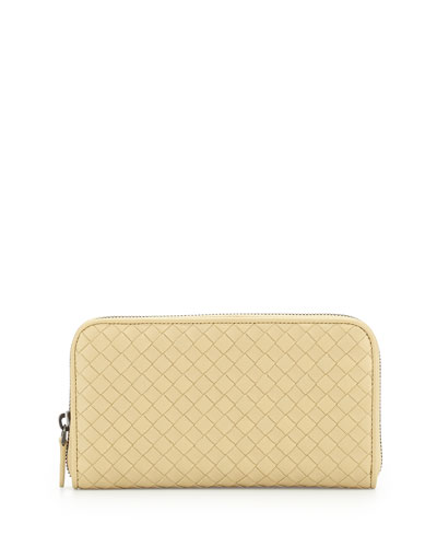 Intrecciato Continental Zip-Around Wallet, Pale Yellow