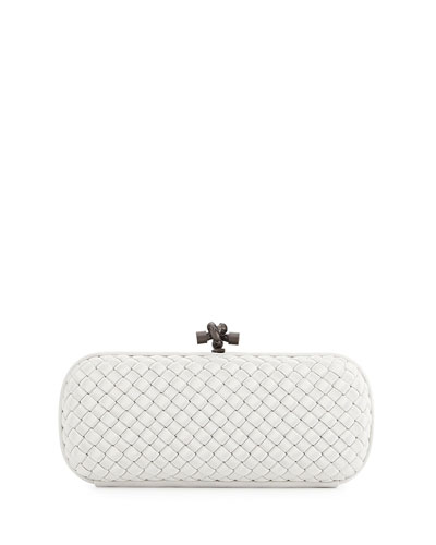 Woven Faille Large Knot Clutch Bag, Mistchalk