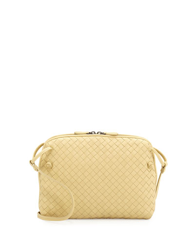 Small Pillow Woven Crossbody Bag, Pale Yellow