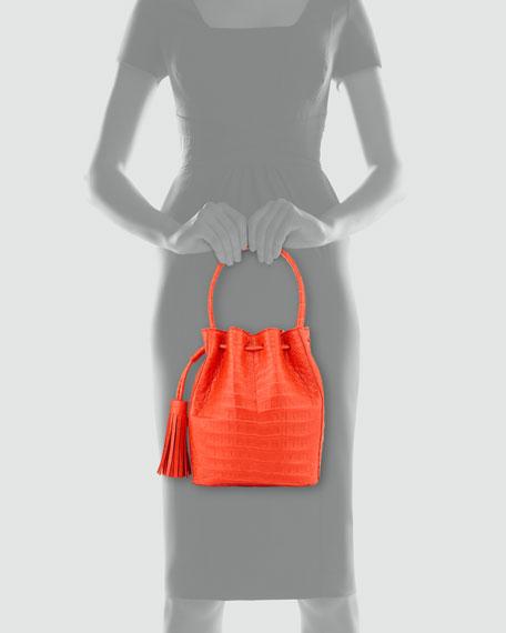 Medium Crocodile Tassel Bucket Bag, Red