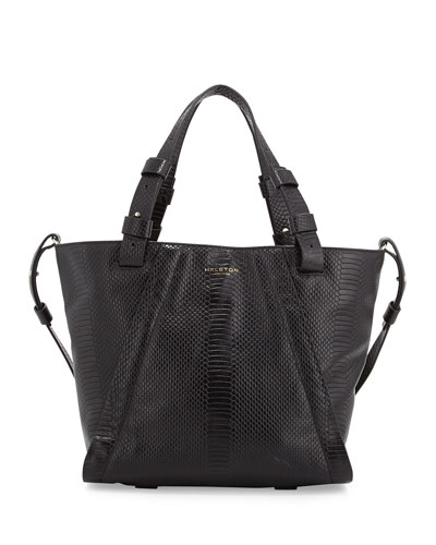 2d07011434 Halston Heritage Liza Python-Embossed Leather Tote Bag