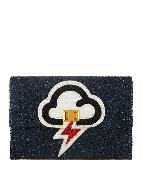 Valorie Lightning Glitter Clutch Bag, Navy