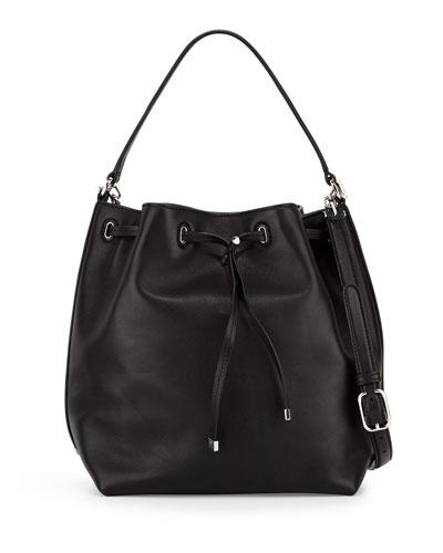 Toggle Drawstring Bucket Bag, Black