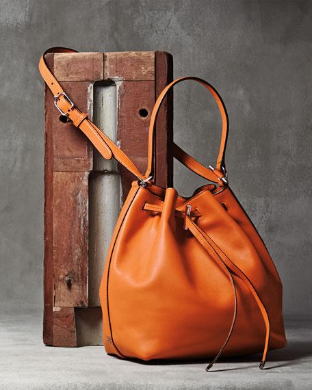 Tory Burch Toggle Drawstring Leather Bucket Bag, Equestrian Orange