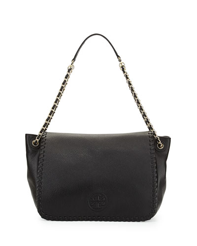 Marion Pebbled Leather Shoulder Bag, Black