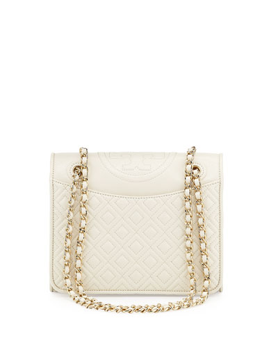Fleming Quilted Patent Saffiano Leather Flap Bag, White