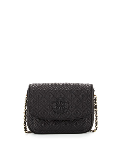 Marion Quilted Mini Shoulder Bag, Black
