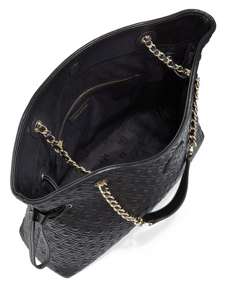Tory Burch Marion Quilted Slouchy Tote Black