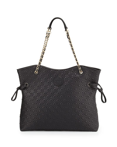 Tory Burch Marion Quilted Slouchy Tote, Black