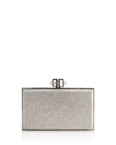 Coffered Rectangle Box Clutch Bag, Silver Shade