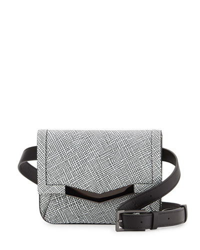 Grid-Leather Belt Bag, White